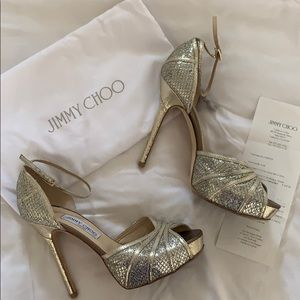Jimmy Choo Kafta Glitter Champagne Heels ✨